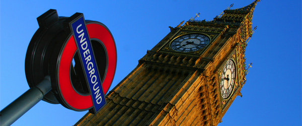 A sign for the London Underground appears in the foreground of a shot of the world-famous Big Ben clock